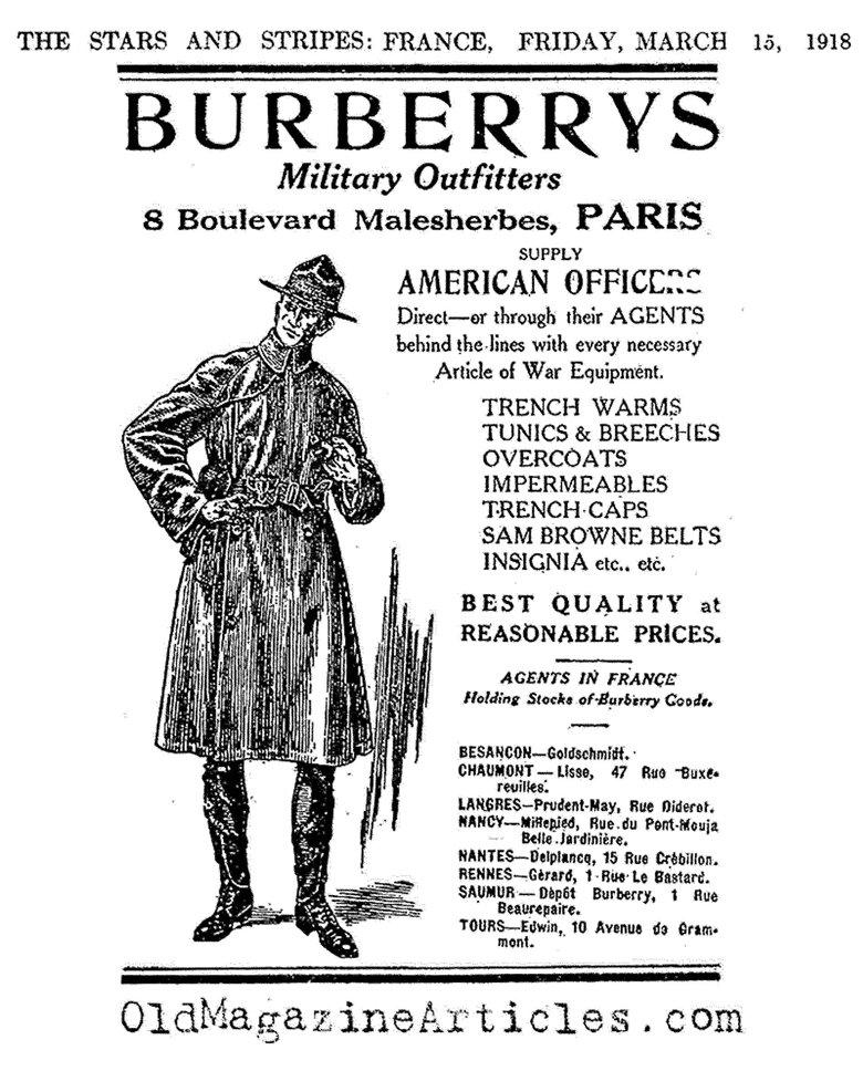 Une commande de trench-coat datant de la 1ère Guerre Mondiale