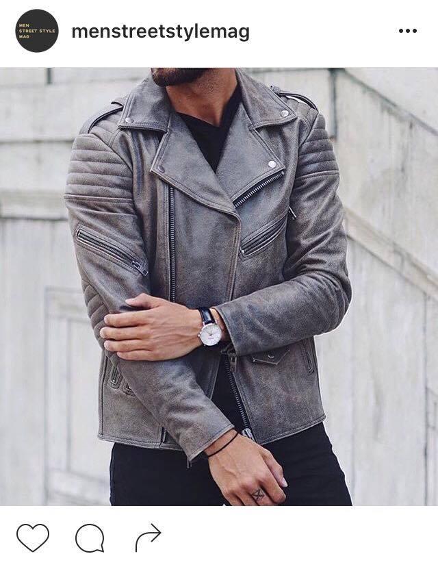 Gris anthracite + montre en cuir noir, le parfait combo